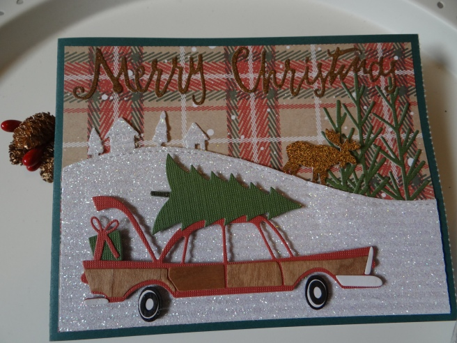 such a fun retro feel with this die makes a great masculine card i used some barc wood tape from arc crafts to cut out my side panels for the car it